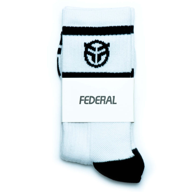 Federal Logo Socks - White With Black Logos