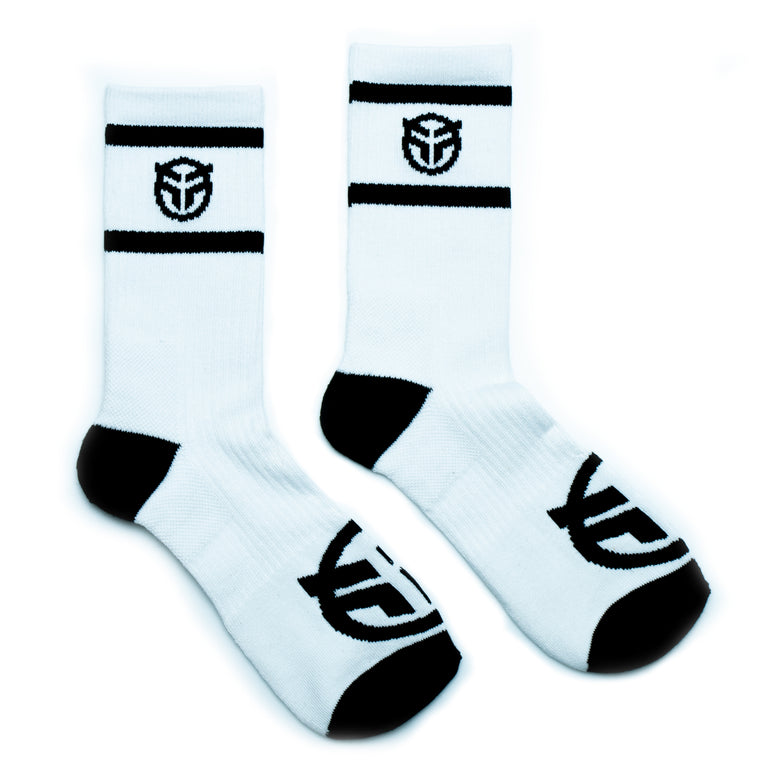 Federal Logo Socks - White With Black Logos | BMX