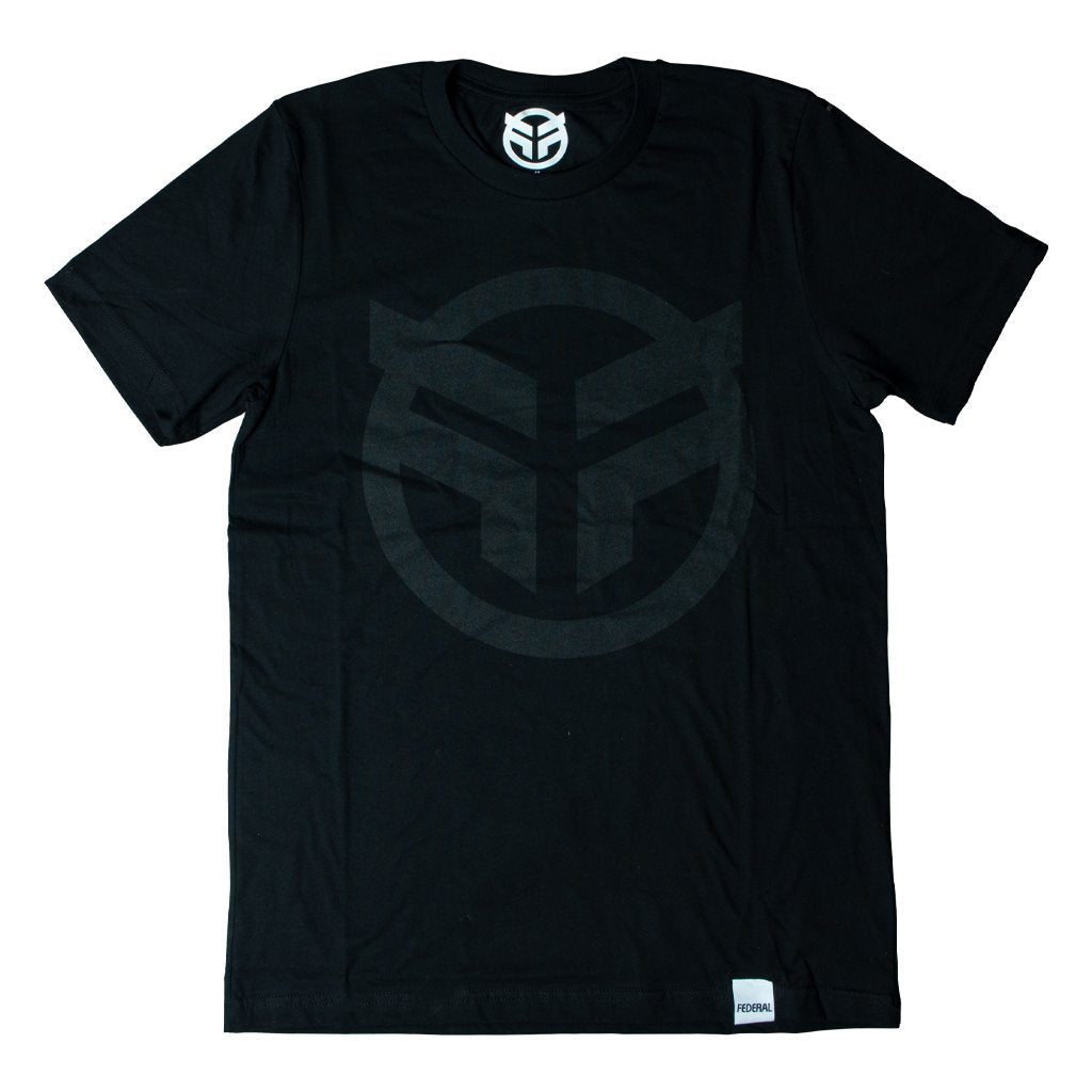 Federal Logo T-Shirt - Black With Black Print