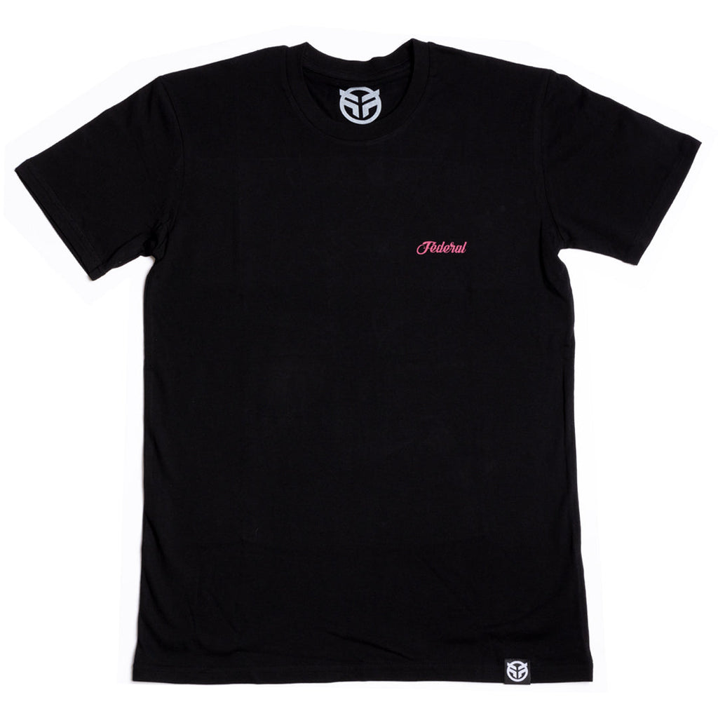 Federal Lacey T-Shirt - Black With Cranberry Print