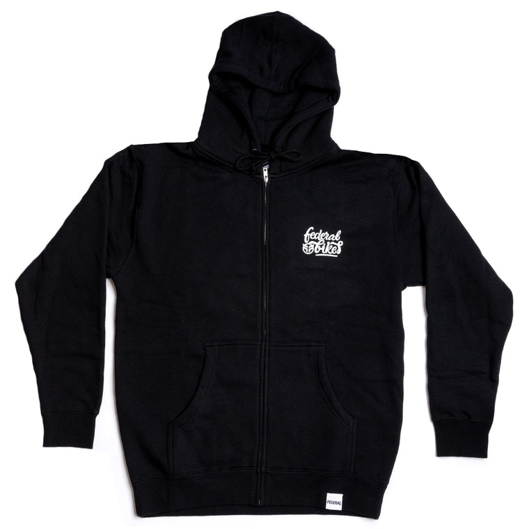 Federal Script Zip Up Hoodie - Black