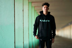 Tall Order Font Logo Poly-Tech Hooded Sweatshirt - Black With Teal Logo