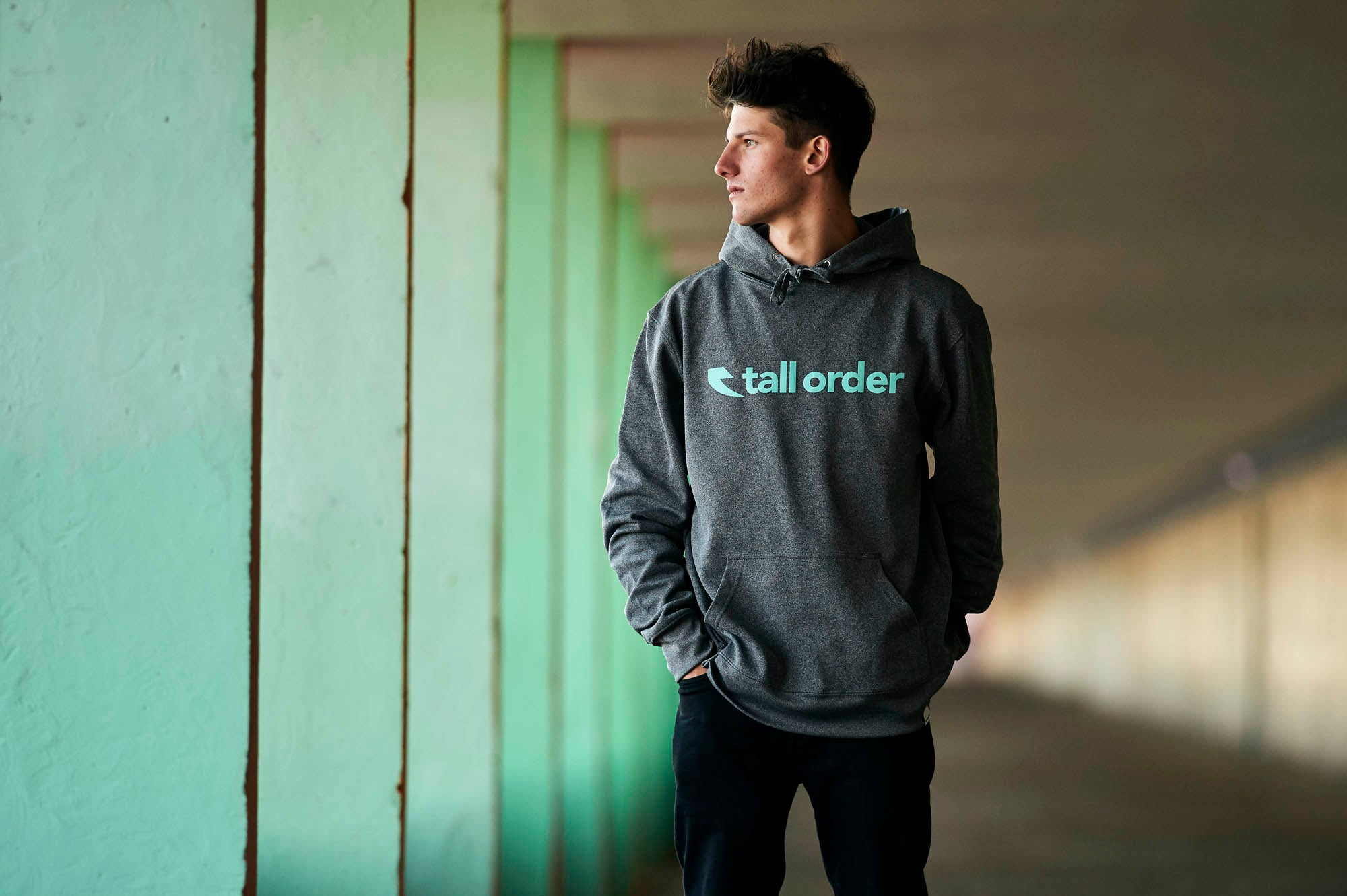 Tall Order Font Logo Poly-Tech Hooded Sweatshirt - Heather Grey With Teal Logo