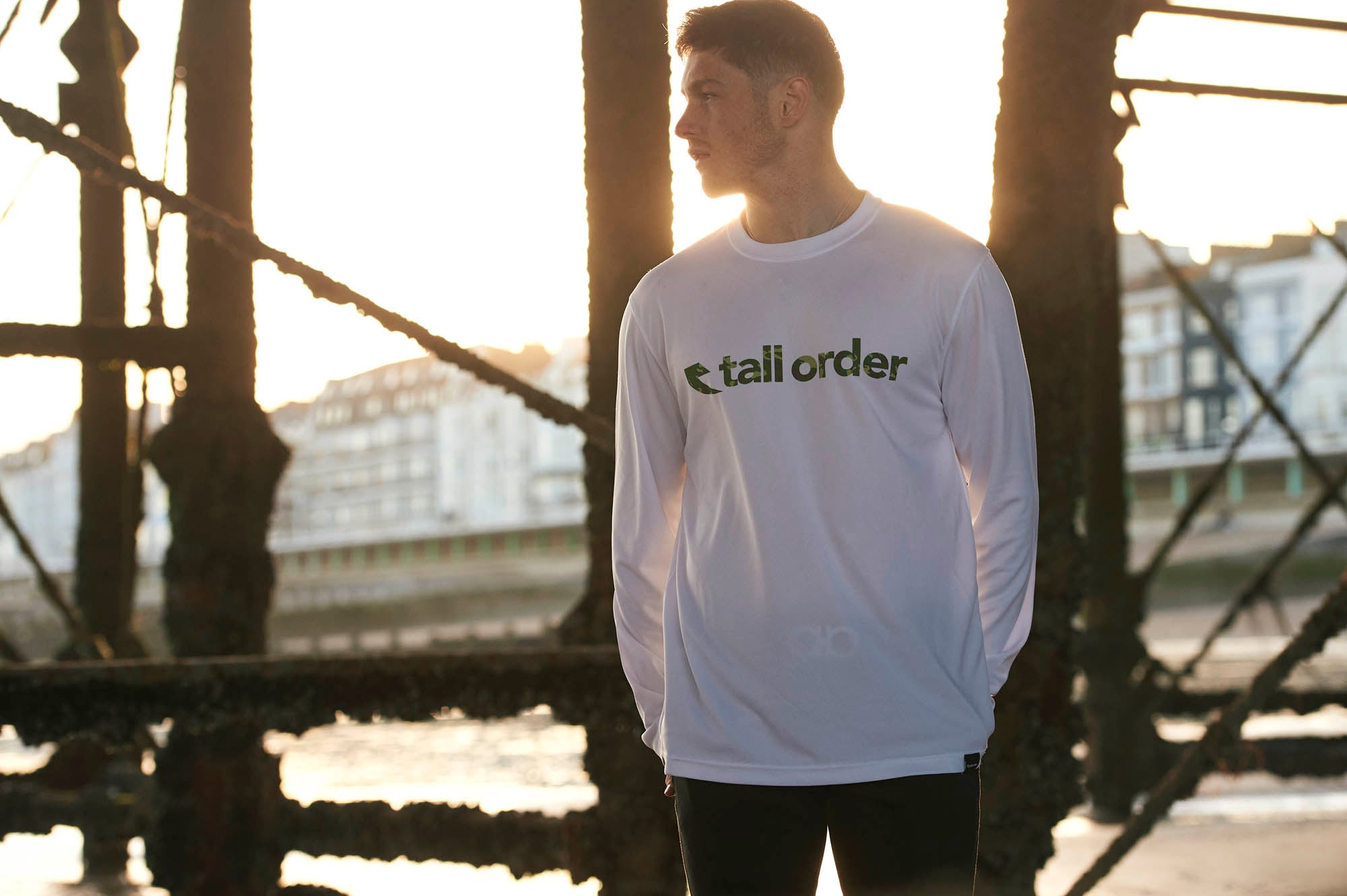Tall Order Font Breathe-Tech Long Sleeve T-Shirt - White With Camo Print