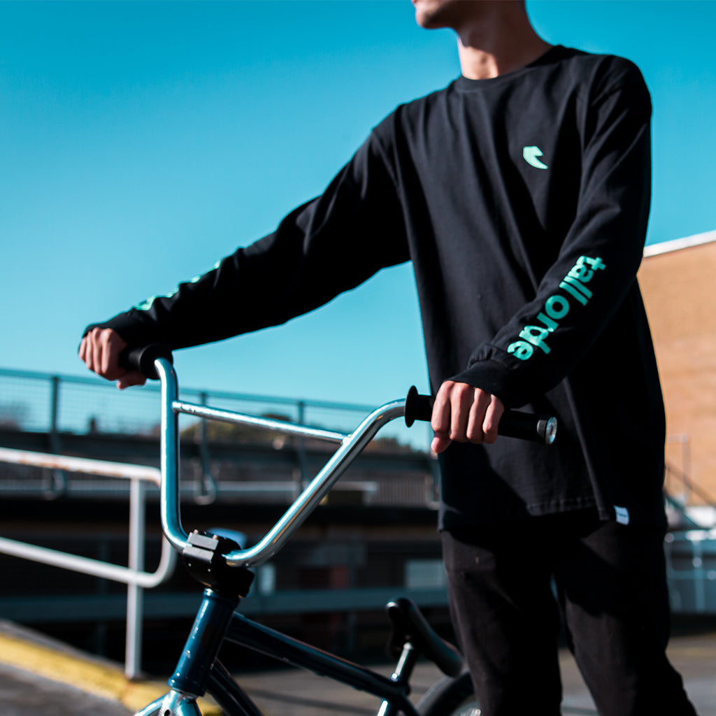 Tall Order Teal Arm Print Long Sleeve T-Shirt - Black