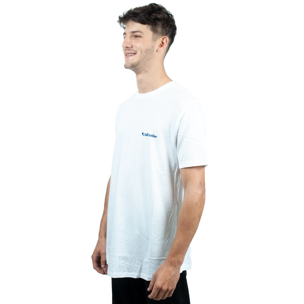 Tall Order Logo T-shirt - White With Blue Print | BMX