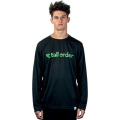 Tall Order Font Breathe-Tech Long Sleeve T-Shirt - Black With Camo Print | BMX