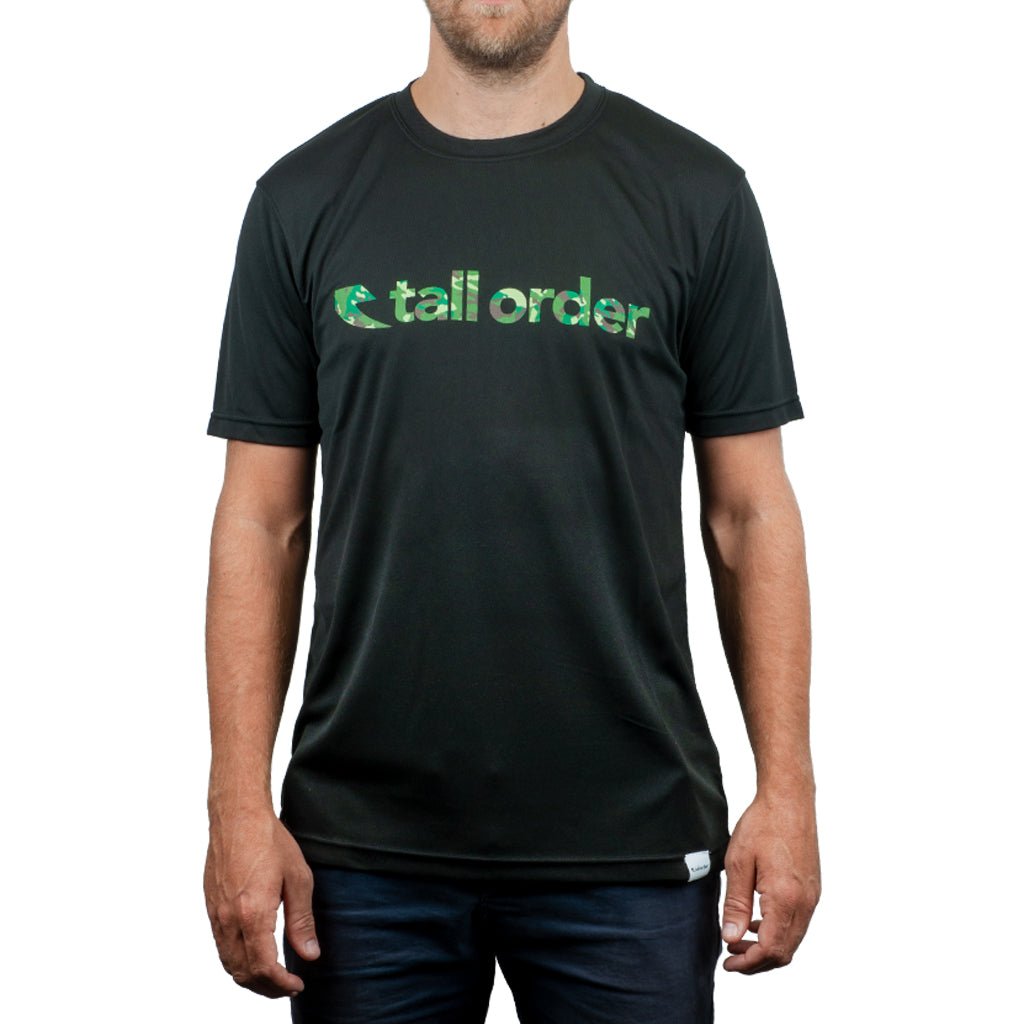 Tall Order Font Breathe-Tech T-Shirt - Black With Camo Print | BMX