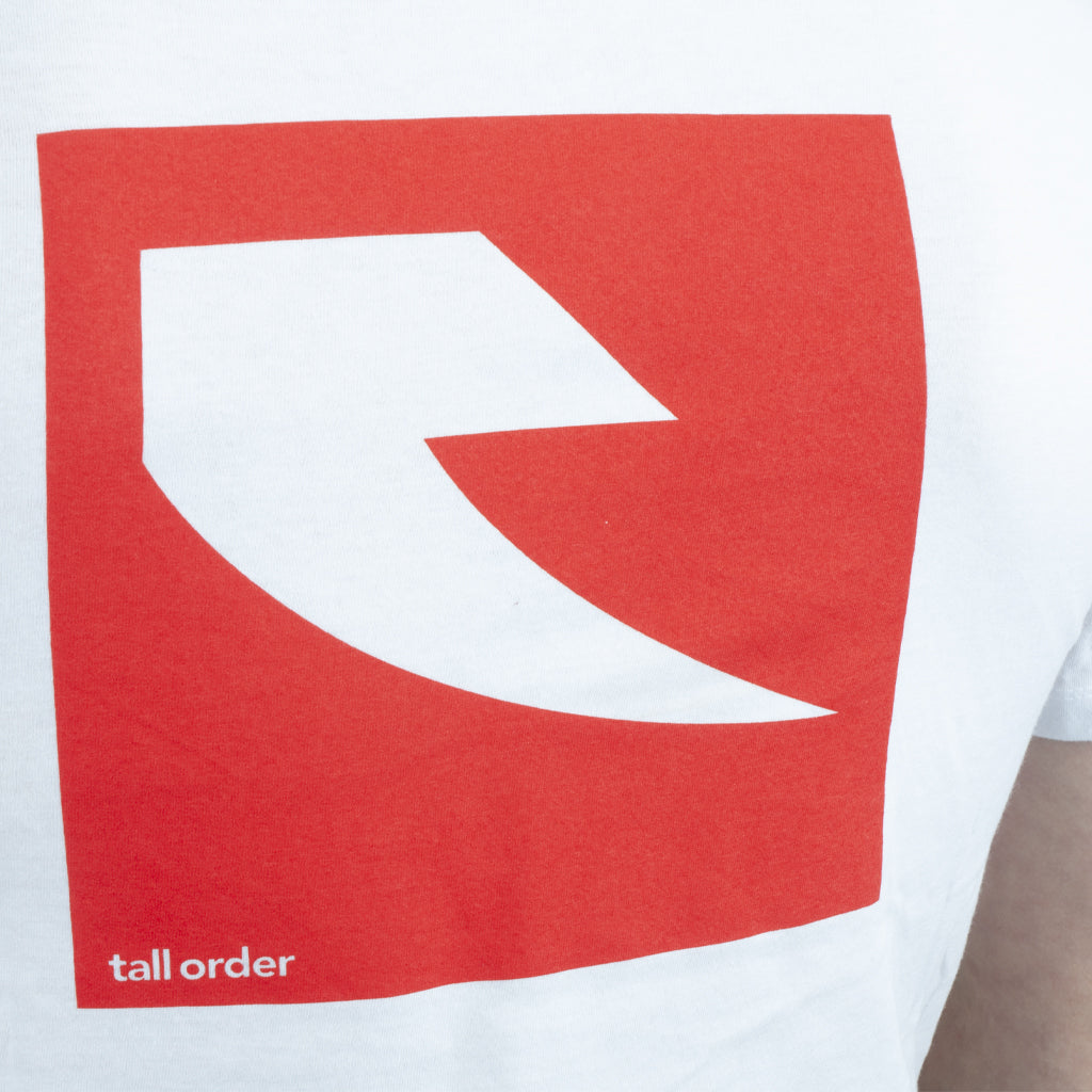 Tall Order Red Square Logo T-Shirt - White | BMX