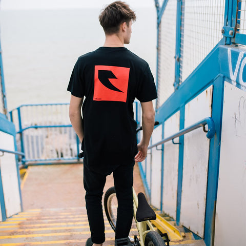 Tall Order Red Square Logo T-Shirt - Black | BMX