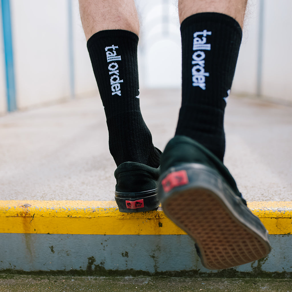 Tall Order Logo Socks - Black With White Logo | BMX