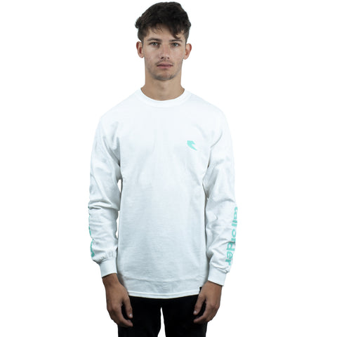 Tall Order Teal Sleeve Logo Long Sleeve T-Shirt - White | BMX