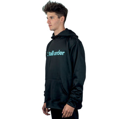 Tall Order Font Logo Poly-Tech Hooded Sweatshirt - Black With Teal Logo | BMX