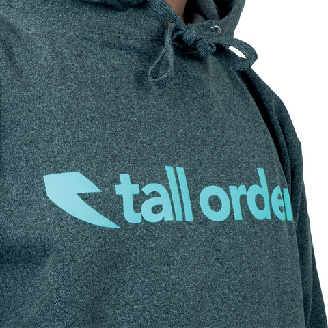 Tall Order Font Logo Poly-Tech Hooded Sweatshirt - Heather Grey With Teal Logo | BMX