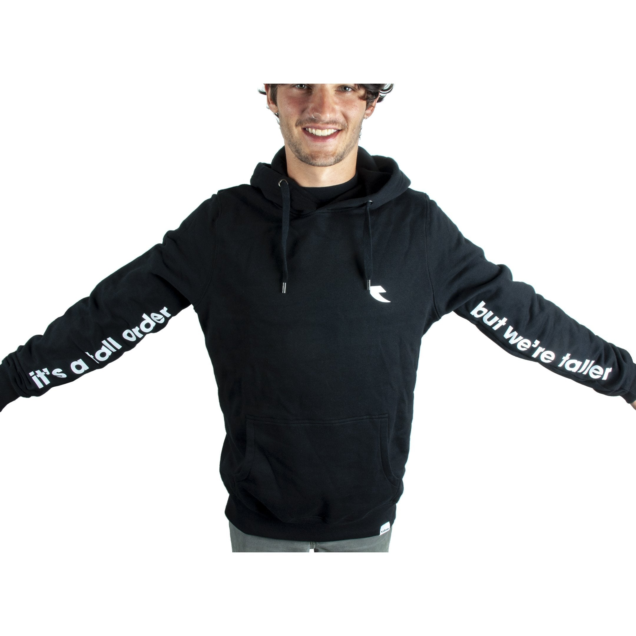 Tall Order Its a tall order but we're taller Sleeve Print Hoodie - Black | BMX