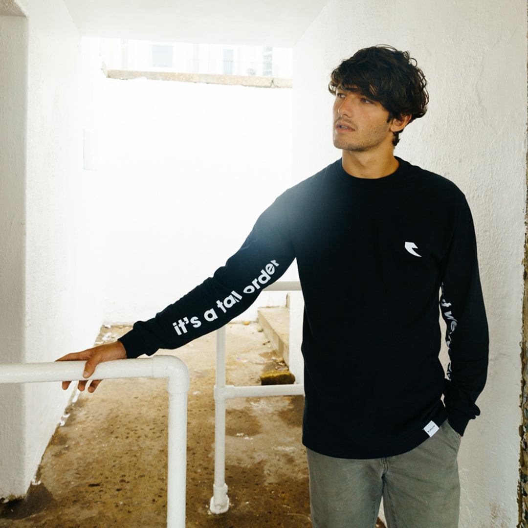 Tall Order It's a... Sleeve Print L/S T-Shirt - Black