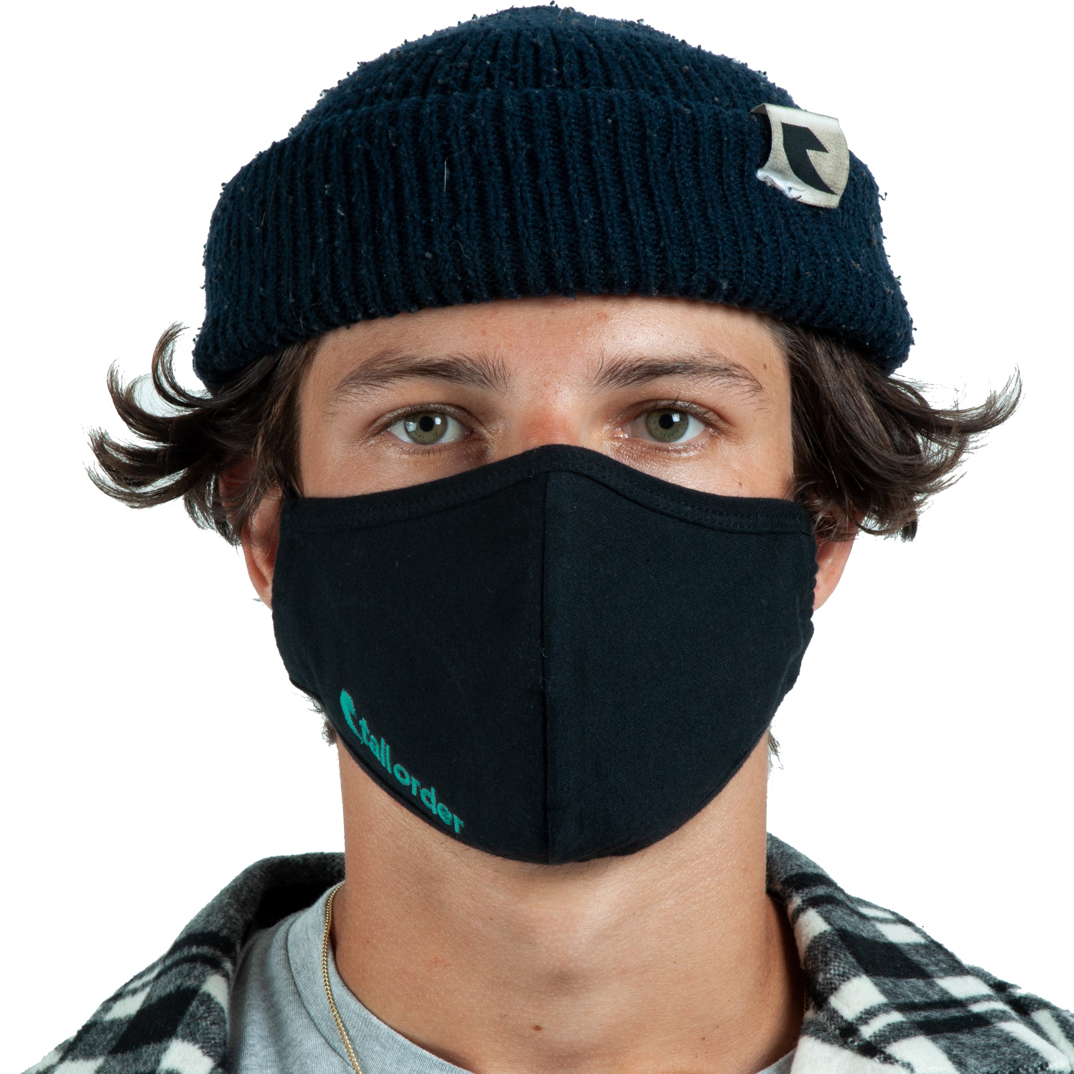 Tall Order Embroidered Mask - Black With Teal Embroidery | BMX