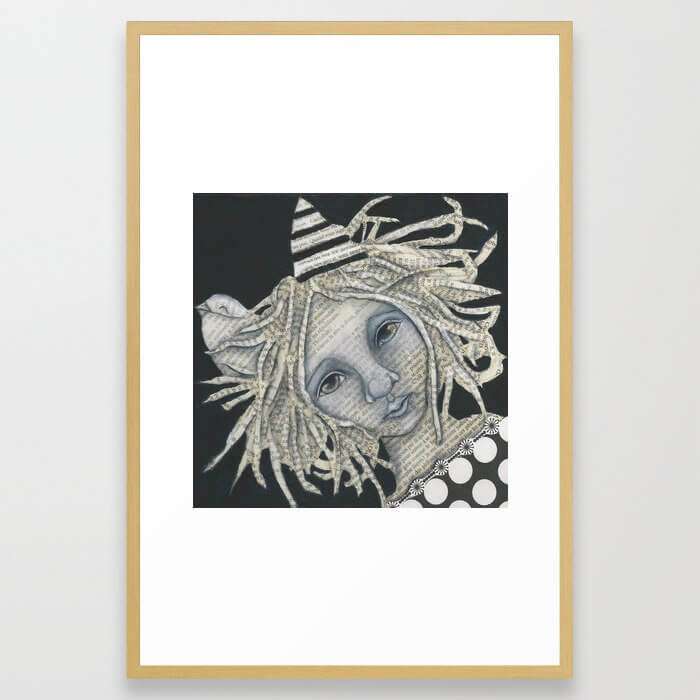 Bird and Girl Portrait Original Mixed Media Portrait Art Words Framed Art Print