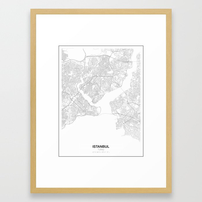 Istanbul, Turkey Minimalist Map Framed Art Print