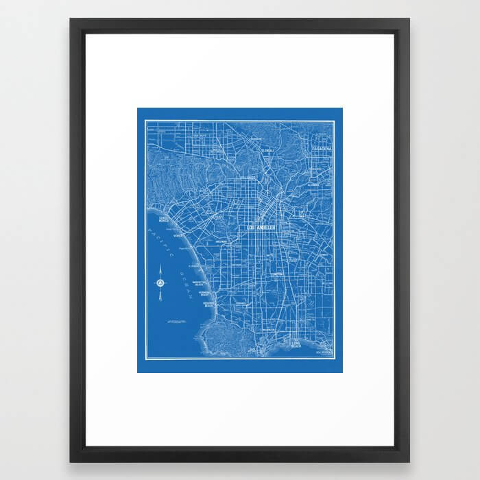 Los Angeles Street Map Framed Art Print