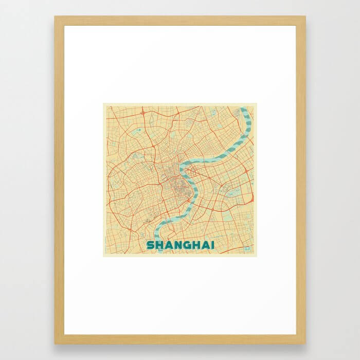 Shanghai Map Retro Framed Art Print