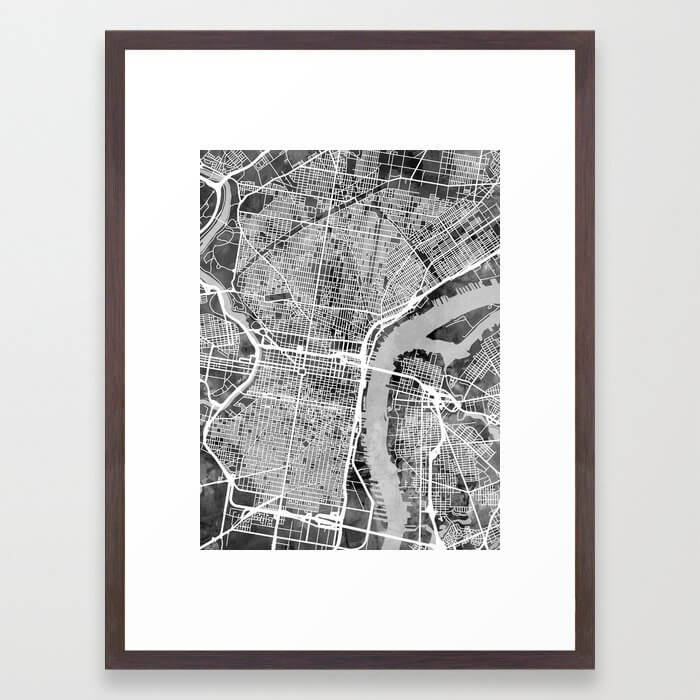 Philadelphia Pennsylvania Street Map Framed Art Print
