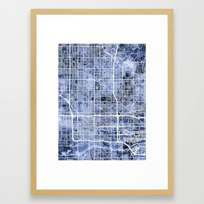 Phoenix Arizona City Map Framed Art Print