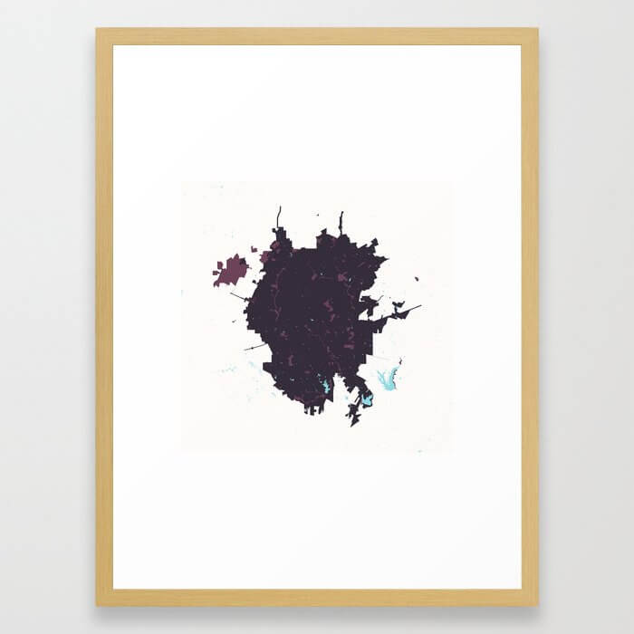 San Antonio Texas Minimalist Map (Plum) Framed Art Print