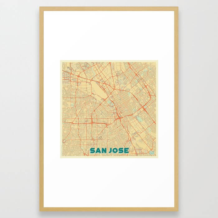 San Jose Map Retro Framed Art Print
