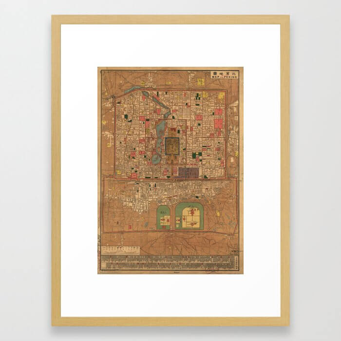 Vintage Map of Beijing China (1914) Framed Art Print