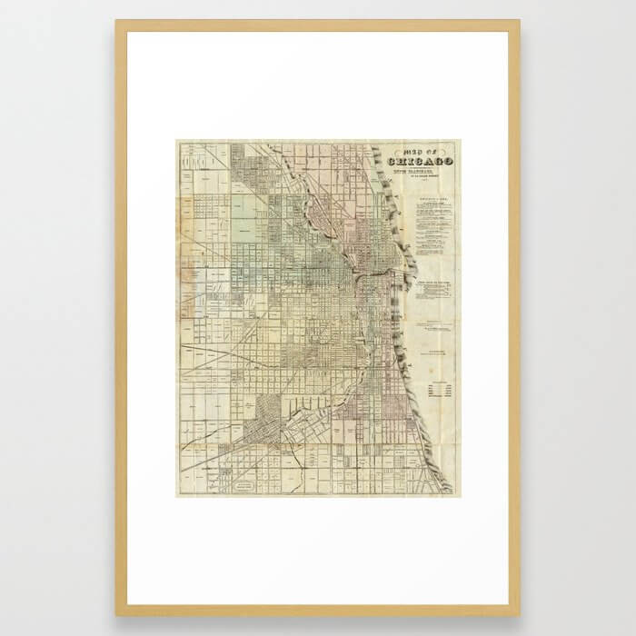 Vintage Map of Chicago (1857) Framed Art Print