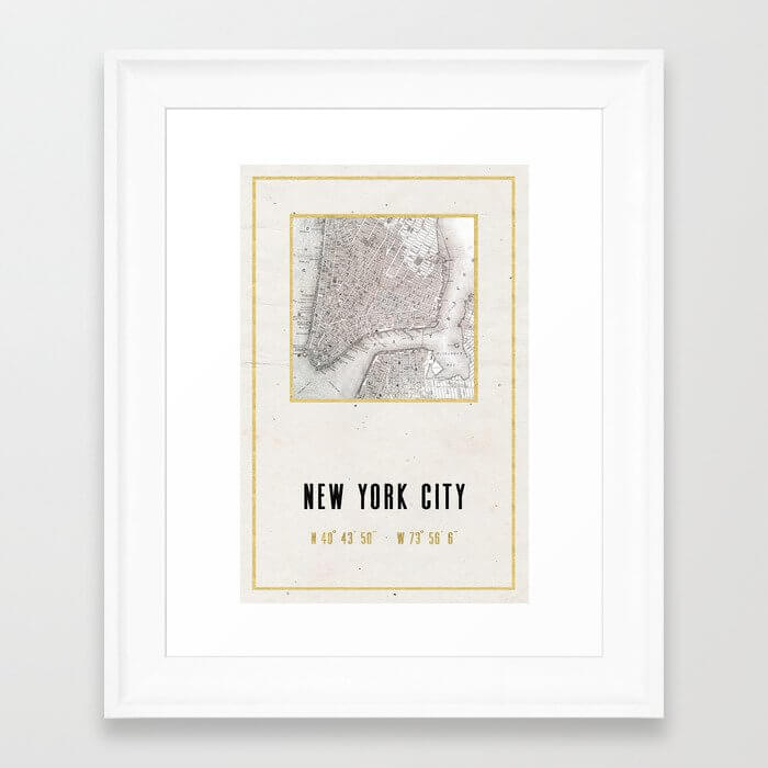 Vintage New York City Gold Foil Location Coordinates image