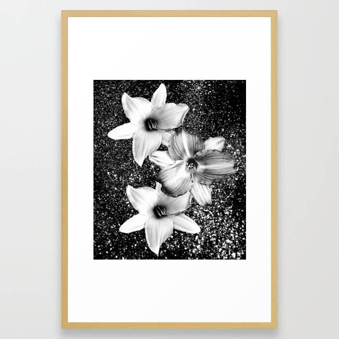 White Lilies on Black Glitter
