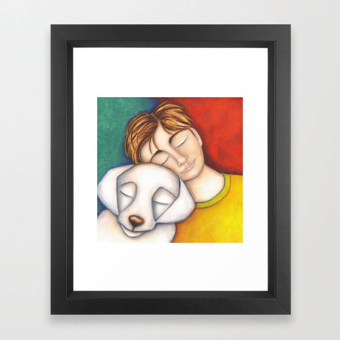 A Boy And His Dog Original Art Portrait Framed Art Print