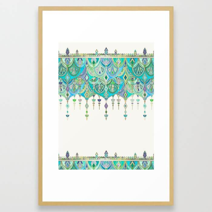 Art Deco Double Drop in Jade and Aquamarine on Cream Framed Art