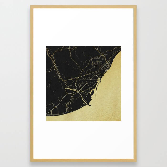 Barcelona Black and Gold Map Framed Art Print