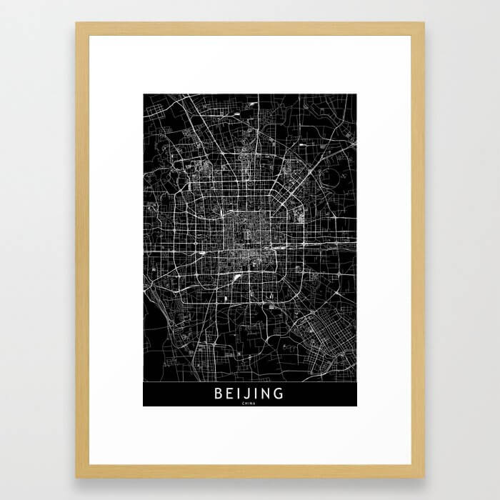 Beijing Black Map Framed Art Print