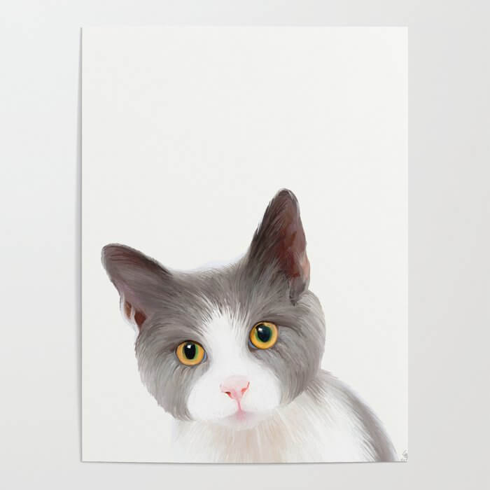 Cat with Yellow Eyes Poster