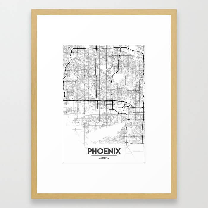 Minimal City Maps - Map Of Phoenix, Arizona, United States Framed Art Print