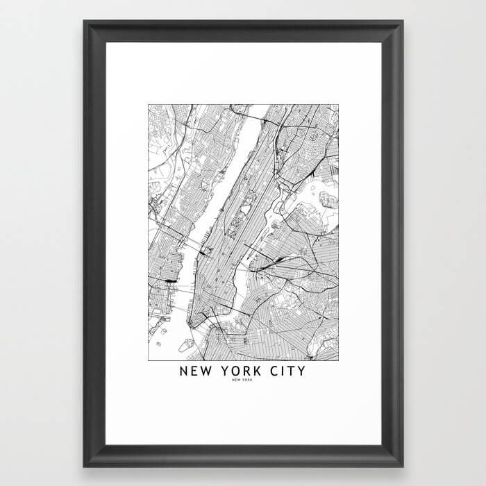 New York City White Map Framed Art Print image