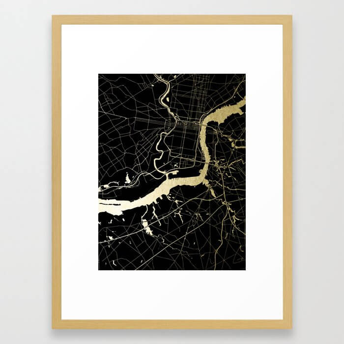 Philadelphia - Black and Gold Framed Art Print