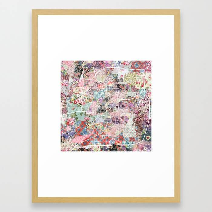 San Antonio map flowers Framed Art Print
