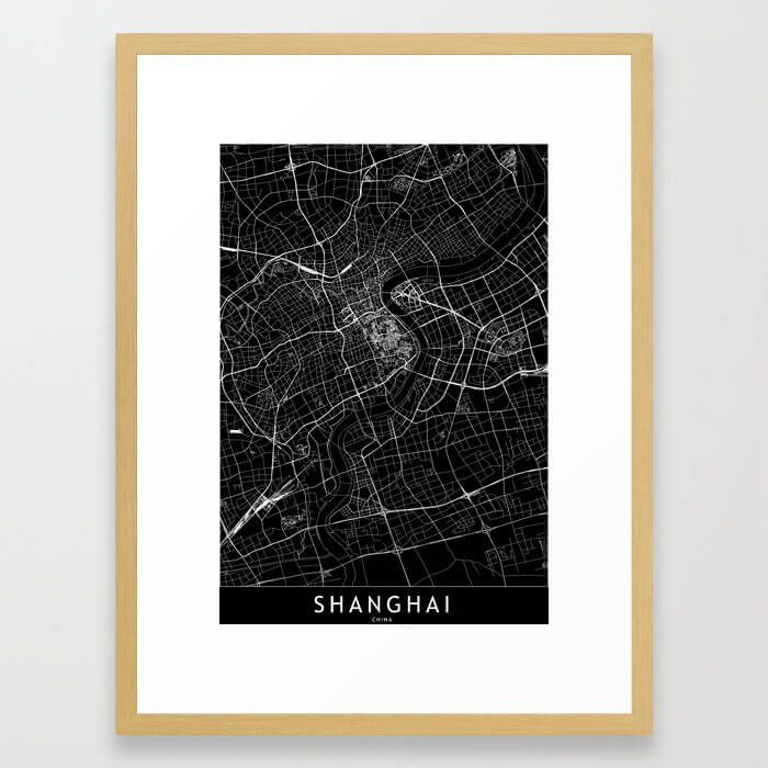 Shanghai Black Map Framed Art Print