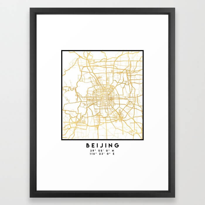 BEIJING CHINA CITY STREET MAP ART Framed Art Print