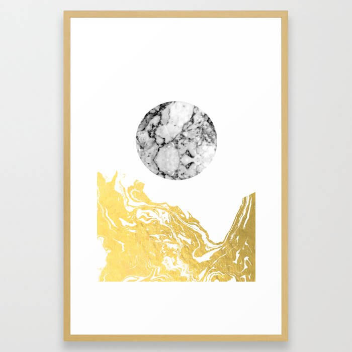 Bekke - abstract minimal white and gold modern art print canvas wall art