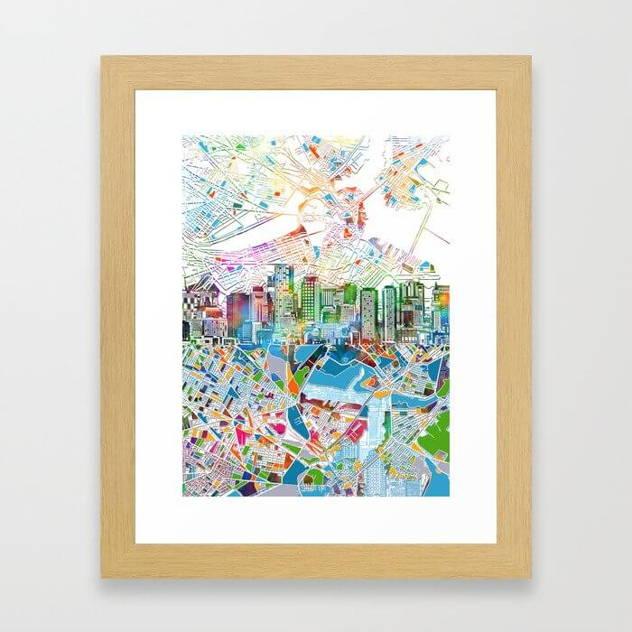 boston city skyline map Framed Art Print