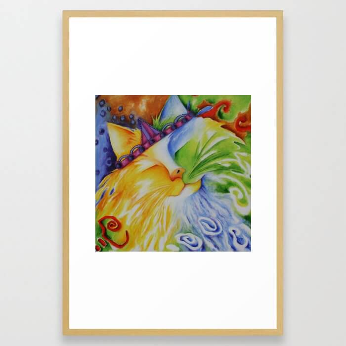 Cat Abstract Original Art Framed Art Print