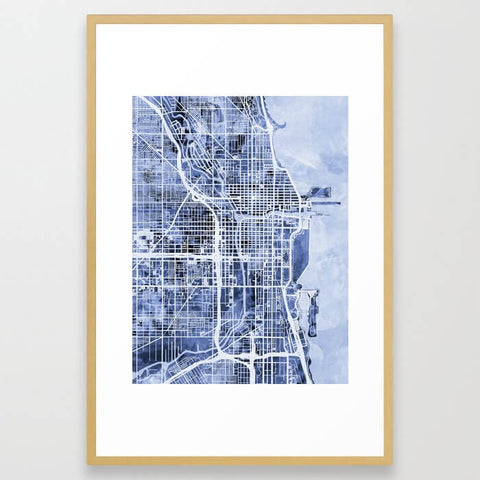 Chicago City Street Map Framed Art Print