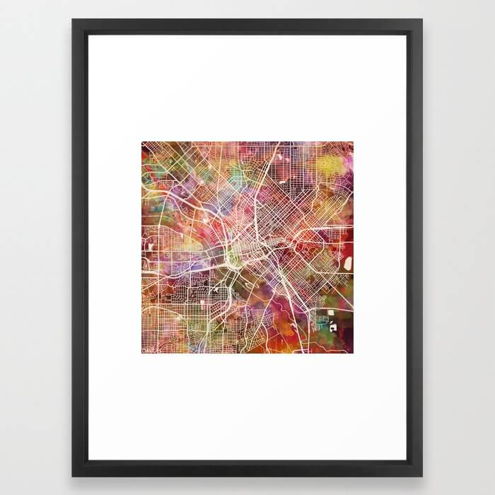 Dallas map 2 Framed Art Print