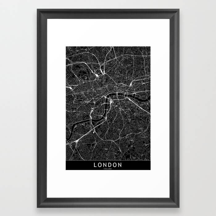 London Black Map Framed Art Print